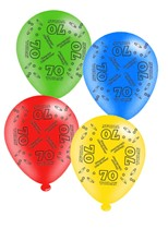 """Age 70 Assorted 10"""" Latex Balloons 8pk"""