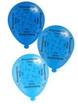 """On Your Christening Blue 10"""" Latex Balloons 8pk"""