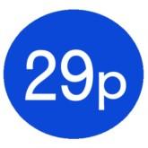 1000 Blue 29p Price Stickers - Single Roll