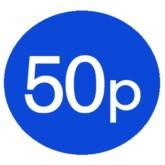1000 Blue 50p Price Stickers - Single Roll