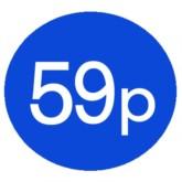 1000 Blue 59p Price Stickers - Single Roll