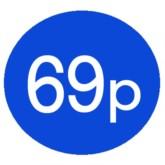 1000 Blue 69p Price Stickers - Single Roll