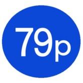 1000 Blue 79p Price Stickers - Single Roll