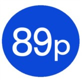 1000 Blue 89p Price Stickers - Single Roll