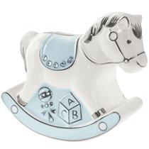 Blue Rocking Horse Ceramic Money Bank