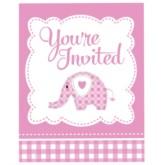 Pink Sweet Baby Elephant Invitations & Envelopes 8pk