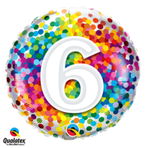 6th Birthday colourful 18 inch round foil balloon