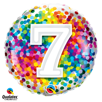 7th Birthday colourful 18 inch round foil balloon