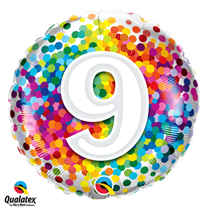 9th Birthday colourful 18 inch round foil balloon