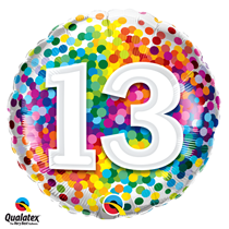 13th Birthday colourful 18 inch round foil balloon