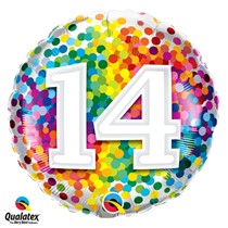 14th Birthday colourful 18 inch round foil balloon