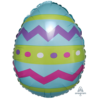 "Easter Egg Striped 18"" Foil Balloon Party Decoration"