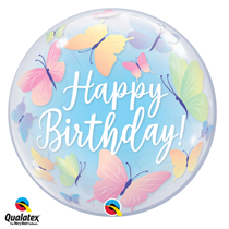Qualatex bubble Happy Birthday Butterflies Balloon
