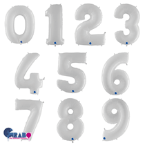 Large White Foil Number Balloons Age 40inch