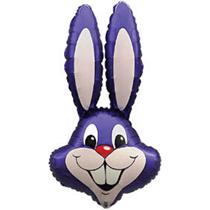 """Jumbo Purple Rabbit 35"""" Foil Balloon Pkgd"""
