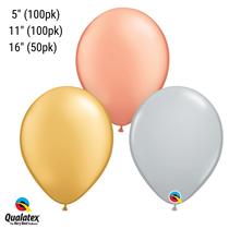 Gold Silver Rose Gold Metallic Latex Balloons Qualatex