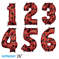 Disney Mickey Mouse Red Foil Number Birthday Balloons