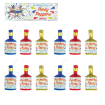 Pack of 12 multi coloured party poppers