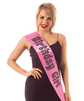 Pink Birthday Girl Satin Like Sash