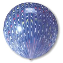 "Blue Peacock Print 18"" (1.5ft) Latex Balloons 5pk"