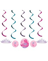 Princess Party Hanging Swirl Decorations 5pk
