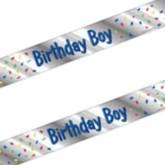 "Reflective Silver ""Birthday Boy"" Sash"