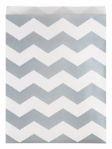 Large Silver Chevron Paper Treat Bags 10pk