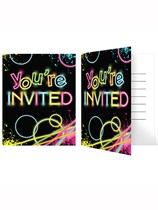 Glow Party Invitations & Envelopes 8pk