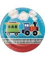 "All Aboard Train 9"" Paper Plates 8pk"