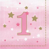 Pink Twinkle Little Star 1st Birthday Napkins 16pk