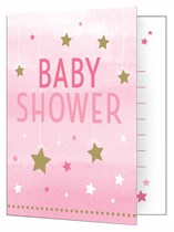 Pink Twinkle Little Star Baby Shower Invitations & Envelopes 8pk