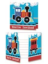 All Aboard Train Party Invitations & Envelopes 8pk