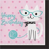 Purrfect Cat Party Happy Birthday Paper Lunch Napkins 12pk