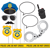 Police Party Photo Booth Props Set 10pce