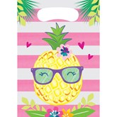 Pineapple Party Plastic Loot Bags 8pk