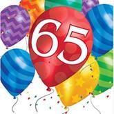 65th Birthday Balloon Blast Luncheon Napkins 16pk