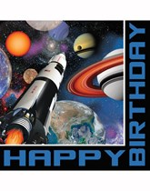 Space Blast Happy Birthday Luncheon Napkins 16pk