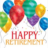 Happy Retirement Balloon Blast Luncheon Napkins 16pk