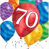 70th Birthday Balloon Blast Luncheon Napkins 16pk