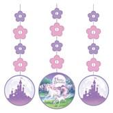 Unicorn Fantasy Hanging Decorations 3pk