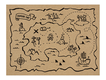Pirate Party Treasure Map Paper Placemats 6pk