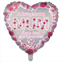 """Mum Memorial 18"""" Heart Shaped Foil Balloon"""