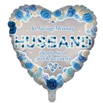 """Husband Memorial 18"""" Heart Shaped Foil Balloon"""