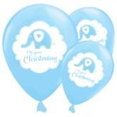 "Blue Sweet Baby Elephant Christening 12"" Latex Balloons 6pk"