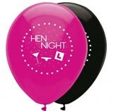 "Pink & Black Hen Night 12"" Latex Balloons 6pk"