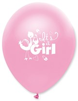 "Pink Pearl It's A Girl 12"" Latex Balloons 6pk"