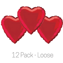 Red Heart 18 inch Foil Balloon Pack of 12 Valentines