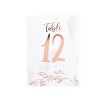 Rose Gold Table Numbers 1 - 12
