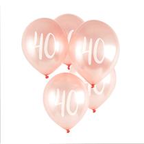 "Age 40 Rose Gold 12"" Latex Balloons 5pk"