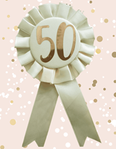 Rose Gold 50th Birthday Rosette Badge